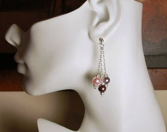 "Mauve, rosaline, and burgundy round faux pearl 2"" dangles, Swarovski 8mm round faux pearl, .925 sterling silver oval rolo chain and ear post"