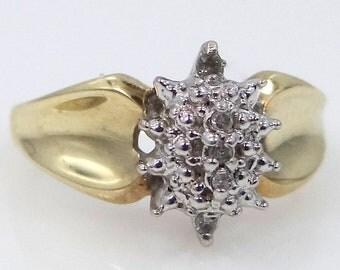 10k White & Yellow Gold Diamond Dinner Ring