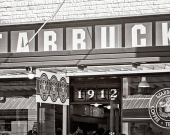 The First Starbucks Photo, Pike Place Coffee Shop, Seattle Photography, Black & White Dark Sepia Print