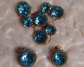 1960's Set with Incredible Teal Colored Rhinestones Signed Freirich-Rare