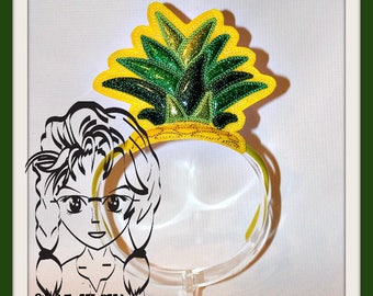 PiNEAPPLE TOP PRiNCESS CRoWN ~ In The Hoop Headband ~ Downloadable DiGiTaL Machine Embroidery Design by Carrie