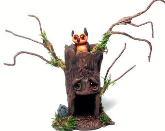 "OOAK Haunted Cemetery Tree Treehouse and Halloween Owl Trollfling Mini ""Hoo-lies"" by Amber Matthies"