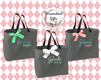 Personalized Bridesmaid Gift Tote Bags, Embroidered Tote, Monogrammed Tote, Bridal Party Gift, Bridesmaid Tote Bags, Wedding Day Tote Bags