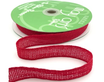Red Open Weave Ribbon 25 Meters Christmas Gift Wrapping Ribbon Full Spool