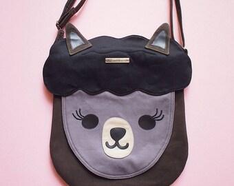 Alpaca Bag, Alpaca Purse, Crossbody Bag, Sling Purse, Llama Bag, Llama Purse, Alpaca Gifts, Llama Gifts, Fabric Sling Bag - BLACK Alpaca