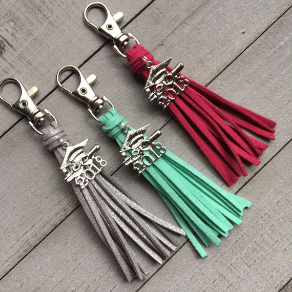 Graduation Gift, 2018 Grad Gift - Choose Your Color Mini Tassel with Cap and Gown Charm - Purse Charm, Tassel Keychain, Bag Tassel