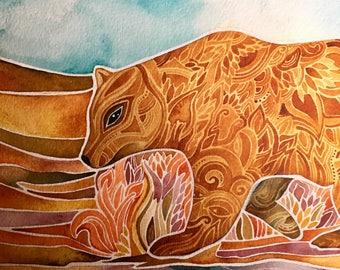 Autumn Bear original watercolor by Megan Noel