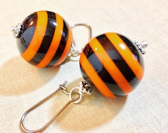 Big Chunky Bubblegum Ball Bead Dangle Earrings with Orange and Black Stripes for Halloween, Surgical Steel