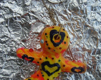 2 Polymer Clay Rainbow Alien Beings Key Chains Adinkra Patience