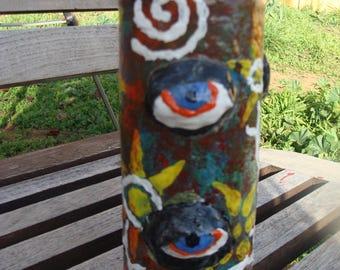 Triple Evil Eye Shaman Vodou Inspired Stash/Altar Jar Papier Mache