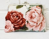 Romantic Rose Pretty Fabric Collage Metal Frame Purse Handstitched frame