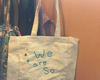 Hand Embroidered We Are So Doomed canvas bag tote