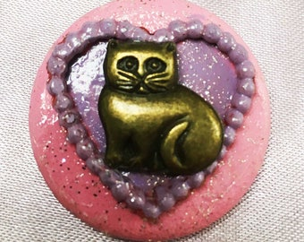 Pink Power Pussy Pin, political pin, cat, kitty,pink pussy, pussy, womens march, ooak cat pin, heart, cat love,cat brooch,political ooak pin