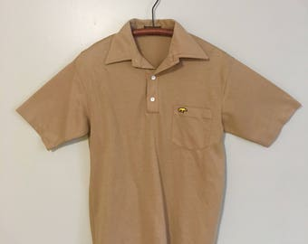 1970s Hathaway Golf Classic for Jack Nicklaus Tan Polo Shirt Size Medium