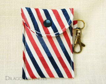Par Avion Mini Essentials Pouch - ID or credit card holder, red blue ecru diagonal postal stripes, keychain card wallet, snail mail