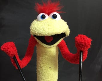 Sock Puppet Creature, Hand and Rod Puppet, Red Hair, Yellow Body, Blue Eyes, Arm Rods