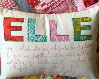 Personalized Pillow Cover, Custom Baby Gift, Custom Pillow,,Custom Name Pillow, Girl,Nursery Decor, Baby Shower, Hand-Embroidered, Scripture