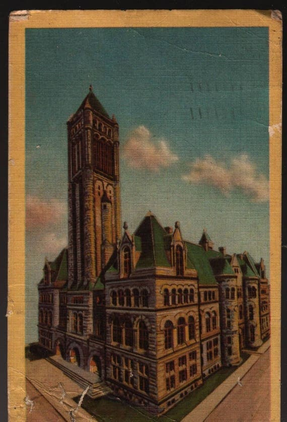 Allegheny County Court House - Pittsburgh, Pennsylvania - 1956 - Vintage Colorcraft Postcard
