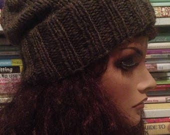 SALE Dark Brown Slouchy Knit Hat Slouch Tam Beanie