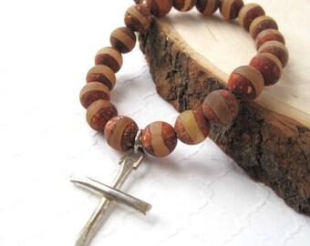 Tibetan Agate Bracelet, Brown Gemstone Unisex Bracelet, Silver Cross Stretch Bracelet, Matte Finish Stones, Men's Bracelet, Gift for Easter