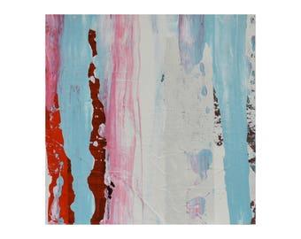 "ORIGINAL Abstract Painting ""Aqua 33"" by Lisa Carney, Modern Art, Minimalist Painting, Stripes, Organic, Geometric, Contemporary, Miniature"