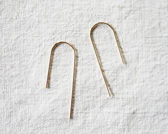 Simple Hoops, Gold Fill Hoop Earrings, Minimalist Hoops, Medium Sized Hoops, Geometic Hoop Earrings, BIG ARCH
