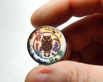 Retro Glass Owl Cabochon for Jewelry and Pendant Making - Design O2