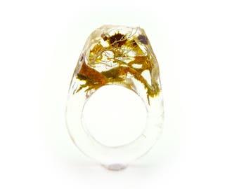 Asymmetrical Faceted Terrarium Ring • Size 5.5 • Eco Resin Moss Ring • Unusual Art Nature • Faceted Terrarium • Geometric Terrarium Ring