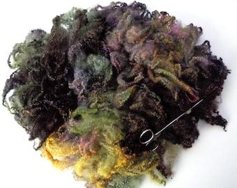 2.3oz Bluefaced Leicester curly fleece wool, curls, locks, felting wool, dolls hair, hand painted fleece, spinning fiber,autumn colours, 65g
