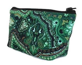small makeup bag, cosmetics bag, Kelly green, zipper bag, zipper pouch, gift for women, gift for teacher