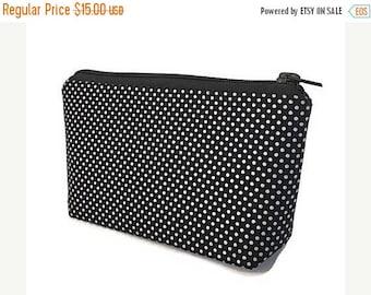 SALE small makeup bag, cosmetics bag, Black and silver, polka dots,  zipper bag, zipper pouch, gift for women, gift for teacher