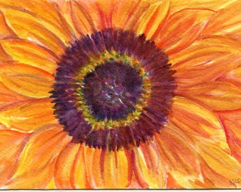 Sunflower watercolor painting original. sunflower decor, original watercolor painting of sunflower 4 x 6 watercolor flower, SharonFosterArt