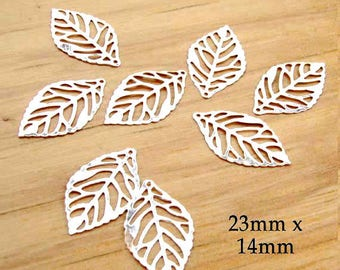 FOUR Pairs Silver Leaf Charms - 23mm x 13mm - Silver Plated Steel - Lightweight and Flexible Nature Charms - Earring Drops - Bulk Supplies