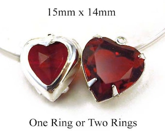 Ruby Red Vintage Glass Beads - Red Heart Pendant or Earrings - Rhinestone Glass Gems - Jewelry Supply - One Pair