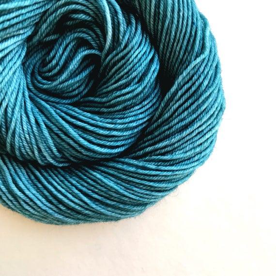 TEAL hand dyed yarn mini skein. sock fingering yarn, merino wool superwash knitting embroidery. 4 ply. green blue yarn