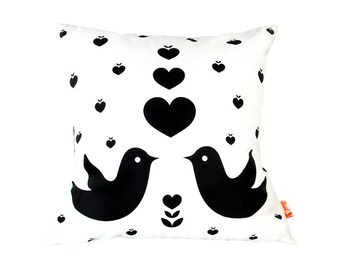 Black Print on White Love Birds Pillow 13 Inches Square