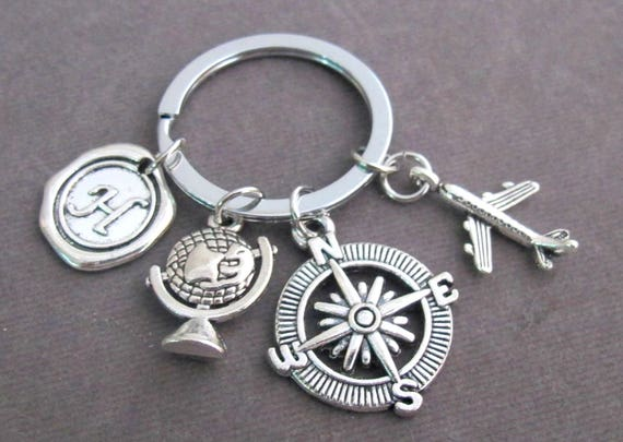 Traveling Keychain,Holidays & Journeys,Vacation Keyring,Travel Agent Gift,World Traveler's gift,Flight Attendant Gift,Free Shipping USA