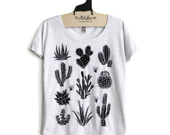 SALE Small-  Tri-Blend Heather White Dolman Tee with Cactus Screen Print