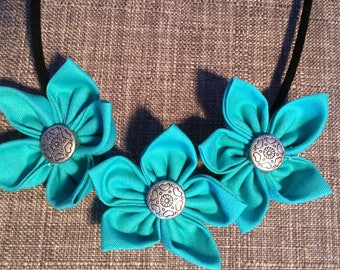 Aqua Turquoise Blue Fabric Flower Statement Necklace