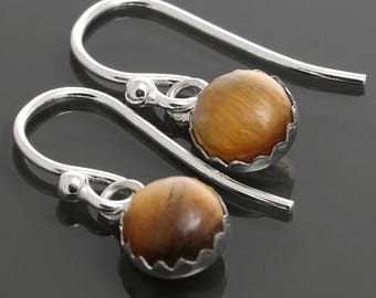Tiger Eye Drop Earrings. Sterling Silver. Genuine Gemstone. Golden Brown. Bezel Settings. 6mm Round. f15e002