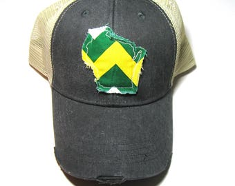 Distressed Snapback Trucker Hat - Green and Gold Wisconsin Hat