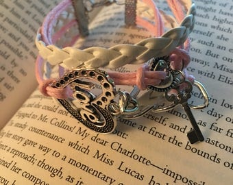 Charm bracelet with heart lock and key