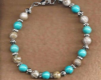 ON SALE Turquoise & Fossil Agate Bracelet