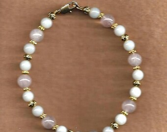ON SALE Rose Quartz & Amazonite Gemstone Bracelet