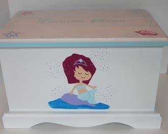 Baby Keepsake Box keepsake chest memory box personalized - Mermaid - baby girl gift hand painted