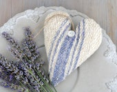 Vintage Grain Sack Lavender Sachet Heart, French Country Decor, Lavender Stripe