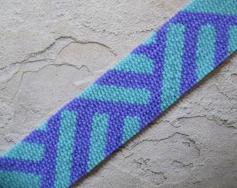 Digital Pattern, 2-Drop Peyote Stitch Cuff Bracelet, Basket Weave Motif, Instant Download