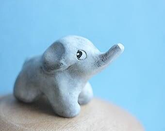 Totem Elephant - Baby Elephant - Clay Elephant - Hand sculpted Elephant - Figurine Elephant - Birthday Gift - Elephant Ring Holder