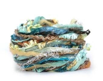 Yarn Fiber Bundle, Sandy Toes, 30metres cut lengths sea blue sand beige shell, fancy textured wool, mixed fibers, textile arts yarn scraps