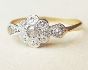 Art Deco Floral Diamond Ring, 18k Gold, Platinum and Diamond Engagement Ring Approx. Size US 5.25 / 5.5